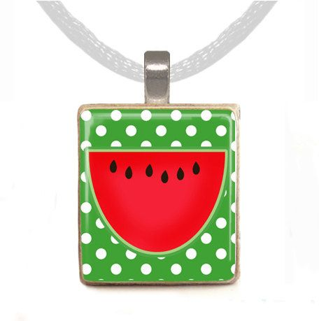 Watermelon pendant -- designed from a Scrabble tile! Made with love by Peachy Pendants, an exhibitor at the 2014 Boston Christmas Festival.