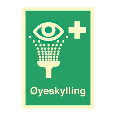 øyeskyllin med tekst - Kjøp Nødskilt online