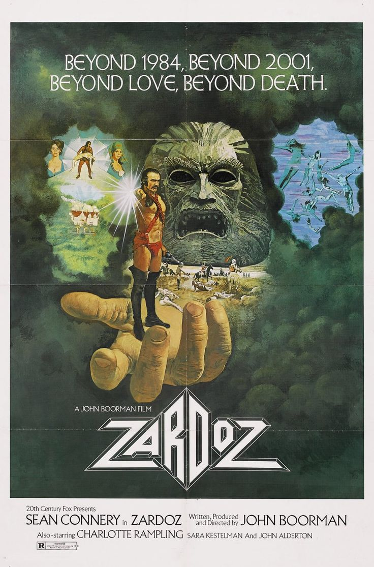 Zardoz (1974) - Set in 2293, where a self-contained world is peopled with the Brutes, the Exterminators and the Eternals. Zardoz is a dystopia, a pessimistic view of a possible future, and a cautionary tale coloured by Boorman's concern for the evolution of humanity. Shot – like Excalibur, The General and The Tiger's Tail – near his house in Wicklow, it is the most baroque of all his films, where he gives free rein to his imagination in flamboyant hues.