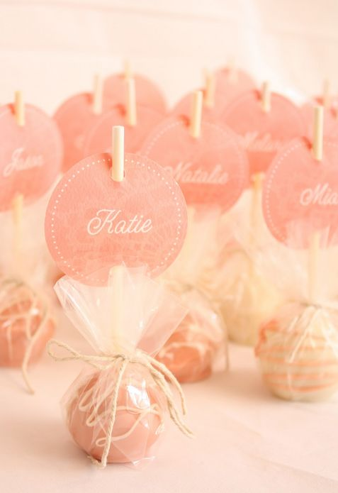 blush wedding favors: Idea, Escort Cards, Parties, Cake Pop, Bridal Shower, Cakes Pop Favors, Pink Cakes Pop, Places Cards, Cake Pops