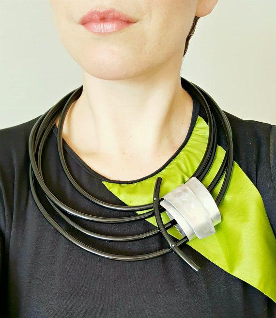 Black statement necklace  Bib necklace Rubber pvc by PevalekArt