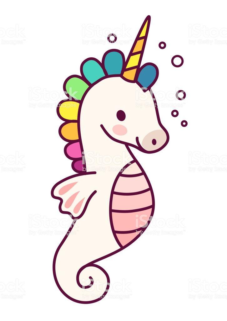 Cute Sea Horse Unicorn With Purple Mane Simple Cartoon Vector