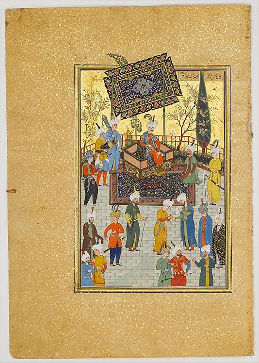 Seated on his throne under a colorful canopy, the king Khusrau Parviz holds court. Toward the middle of the composition, a pair of figures captures our attention. A bearded man holds an inscribed paper in one hand, while a young man applies ink to a seal ring on the other