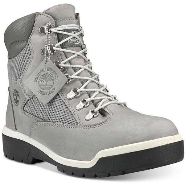 "Timberland Men's Waterproof 6"" Field Boots ($185) ❤ liked on Polyvore featuring men's fashion, men's shoes, men's boots, men's work boots, grey, mens lace up boots, mens gray boots, mens water proof boots, mens lace up work boots and timberland mens boots"
