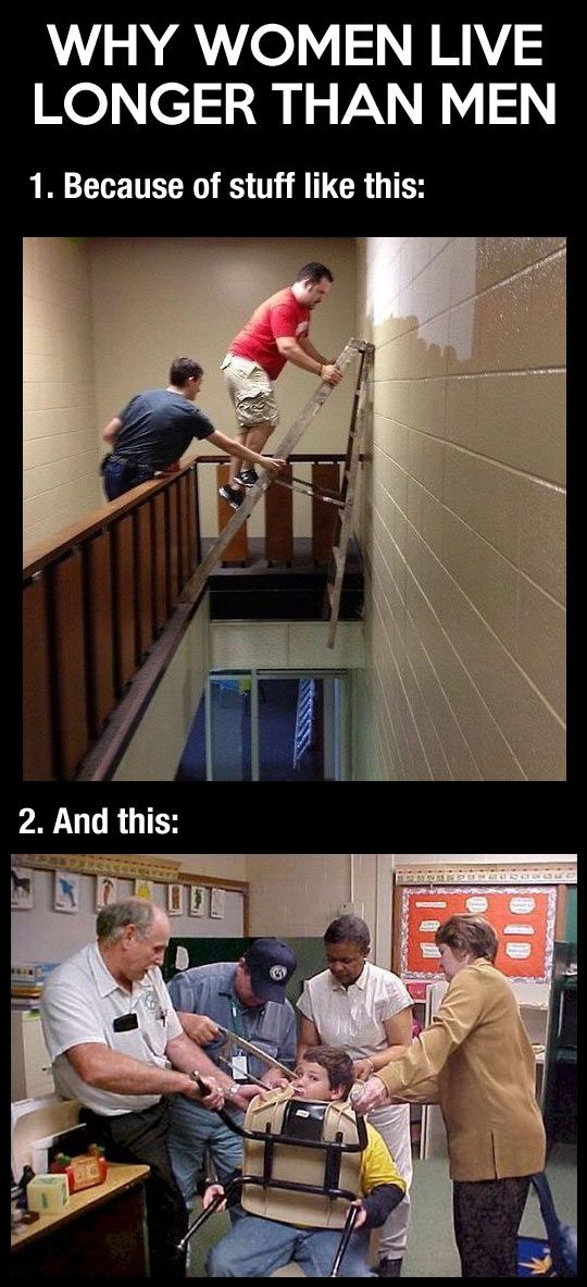 And this is why women live longer than men… [Warning: extremely sexist joke, which nonetheless is still kinda funny because of the pictures =P ]