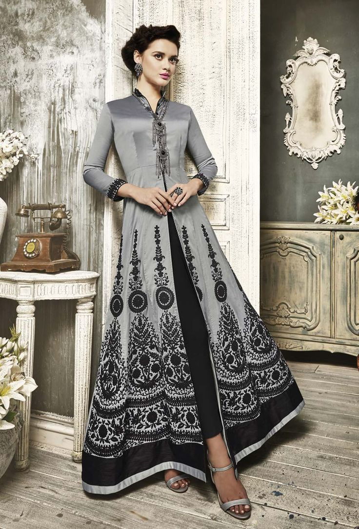 Grey Taffeta Silk Achkan Style Salwar Suit #achkan #achkanstylaesalwarsuit #achkanstylesalwarkameez #salwarsuitonline #salwarkameezonline #designer #stylish #dress #onlineindiandress #sale#nikvik #freeshipping #usa #australia #canada #newzeland #Uk #UAE