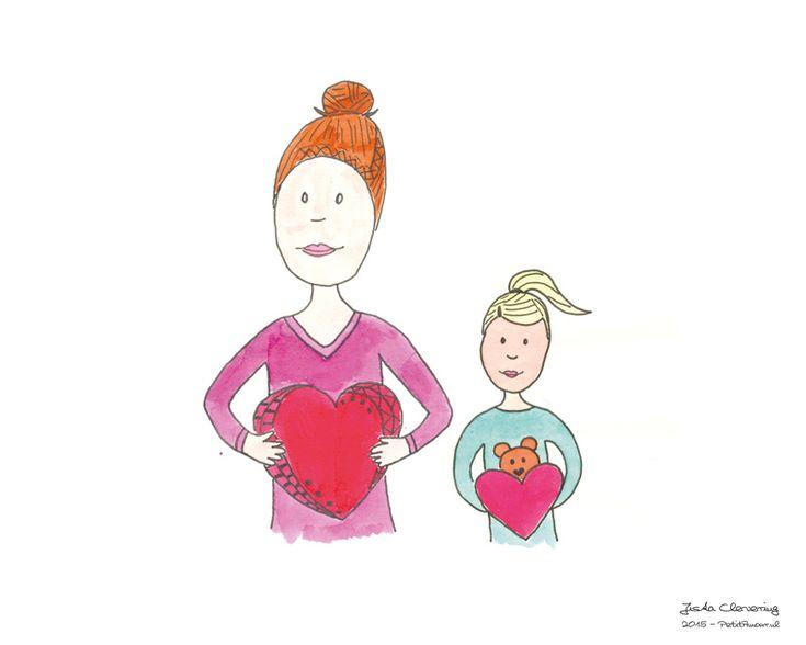Illustratie: valentijn samen. Gemaakt door Jiska-Clevering-Hartsuiker met ecoline en fineliner. Sterrig verzorgt illustratieworkshops.