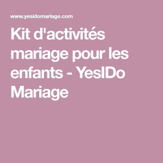 Kit d'activités mariage pour les enfants - YesIDo Mariage