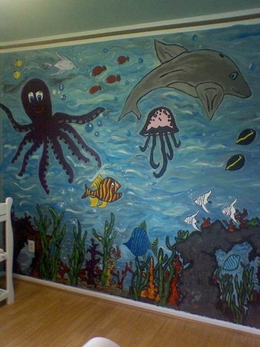 Best 25 ocean themed rooms ideas on pinterest sea theme for Underwater mural ideas