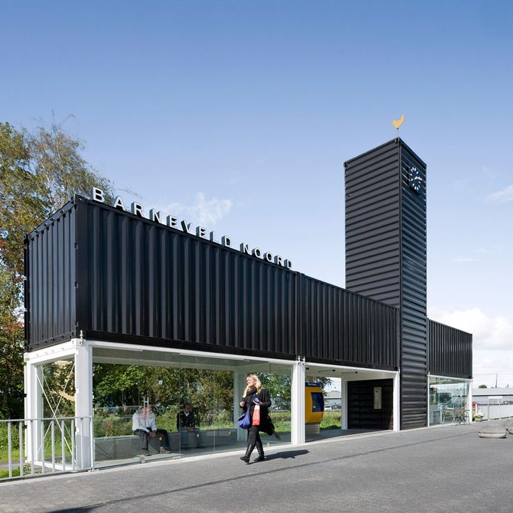 built using shipping containers, NL architects have developed a temporary structure at 'barneveld noord bus station' in the netherlands, designed to improve the waiting experience