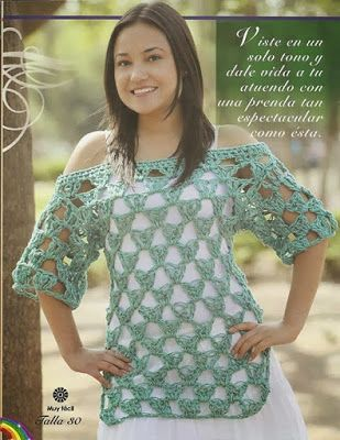 Tejido Facil: Patrón: 1,2, 3 blusa crochet super express y femenina :) …