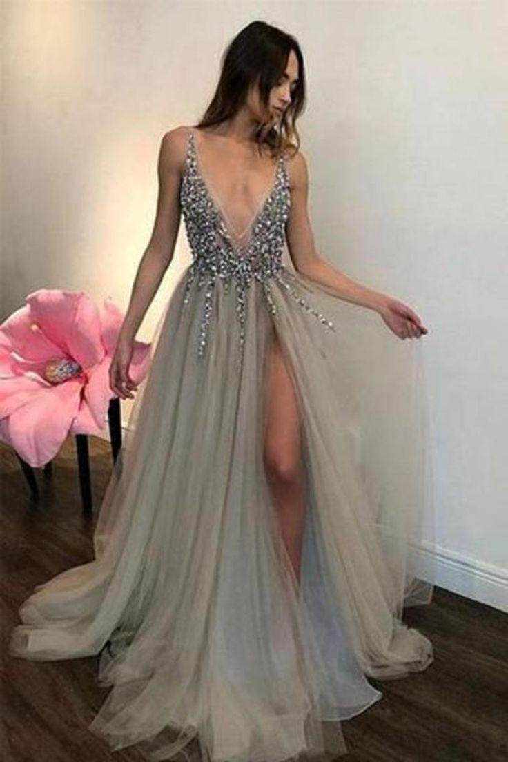 Pretty Deep V-Neck Long Beading Tulle A-Line Gray Prom Dresses US$ 179.00 KKPDA3M63X