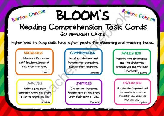 BLOOMS READING COMPREHENSION QUESTION TASK CARDS Bright Rainbow Chevron from Magic Mistakes & Mayhem on TeachersNotebook.com -  (18 pages)  - Bloom's has never been more fun ;)  Now in Bright Rainbow Chevron!  This pack includes SIXTY TASK CARDS covering the Bloom's Taxonomy Thinking Skills of Knowledge, Comprehension, Application, Analysis, Synthesis and Evaluation.  They are designe