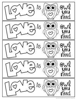FREE OWL BOOKMARKS FOR VALENTINE'S DAY - TeachersPayTeachers.com
