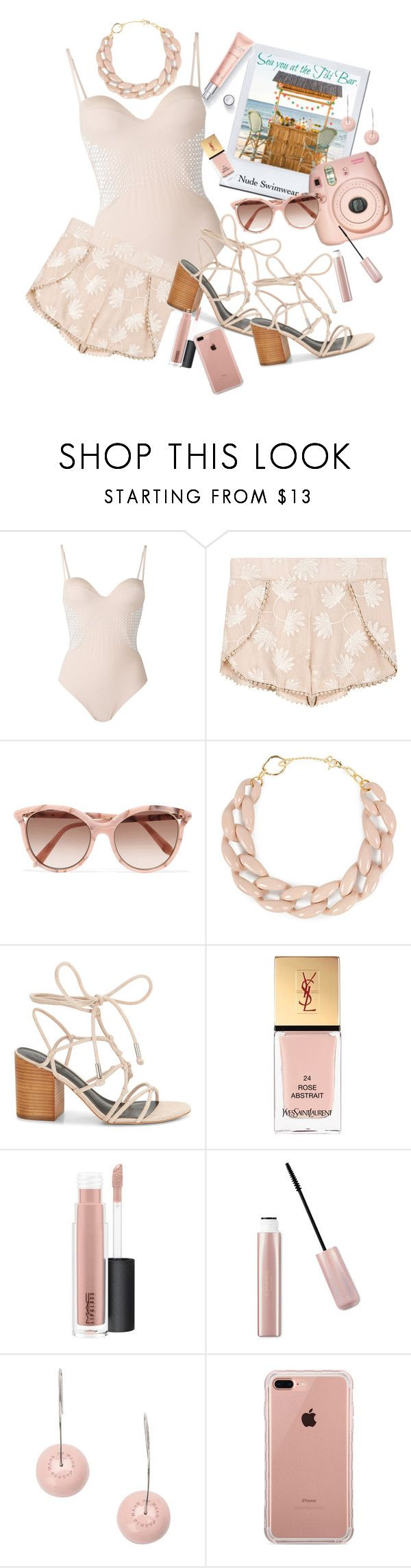 """Nude Swimwear"" by marionmeyer ❤ liked on Polyvore featuring La Perla, Fuji, Victoria Beckham, DIANA BROUSSARD, Rebecca Minkoff, Yves Saint Laurent, MAC Cosmetics, Marc by Marc Jacobs, Belkin and nudeswimwear"
