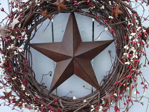 Check out this item in my Etsy shop https://www.etsy.com/listing/595824555/rusty-star-wreath-primitive-wreath