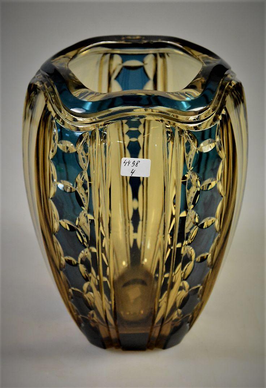 Val Saint-Lambert vase 'Pietro' S361 - Cristal topaze doublé bleu-pétrole - Joseph Simon- Catalogue Cristaux de Fantaisie 1926. H 20 cm.