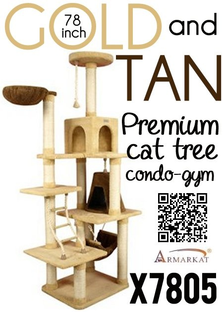 The X7805 Armarkat 78 Inch Gold and Tan Cat Tree Condo Gym is more than just a cat tree, it is a complete play, exercise and rest area for any household with multiple cats. Install a X7805 in your home and watch your cats grow healthy and strong because of all the exercise and activity they get from this amazing cat tree condo gym. It is inexpensive when compared to other cat trees of the same quality, class and price range. Buy one to-day, your cats will love you all the more for it.