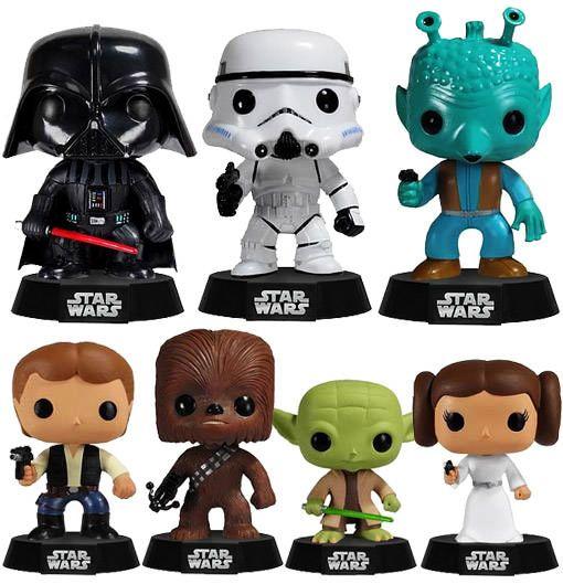 Herois e Vilões de Star Wars em Versão Baby Bobble Head da Funko