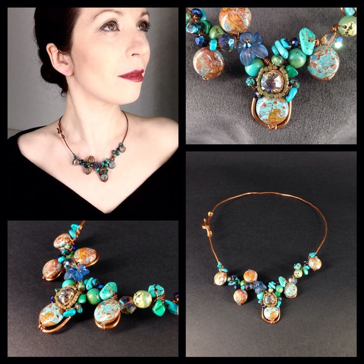 Turqoise Gemstone Close Fitting Copper Necklace by TrinesTreasures on Etsy