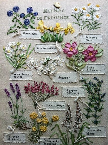 Herbs of provence stitchery. Ribbon and thread embroidery. I believe I'm linking to the original - a French embroider's site. Hurrah for reverse image search.
