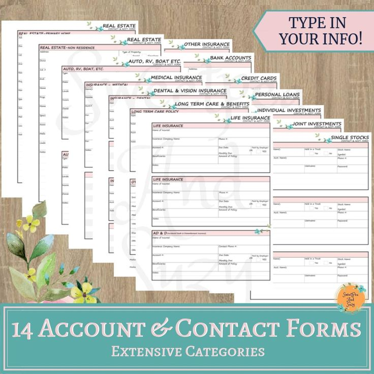 Accounts & Contact Information Forms 14 pgs of extensive
