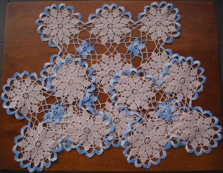 Set of Three Two Tone Vintage Hand Crochet SET / NEVER USED