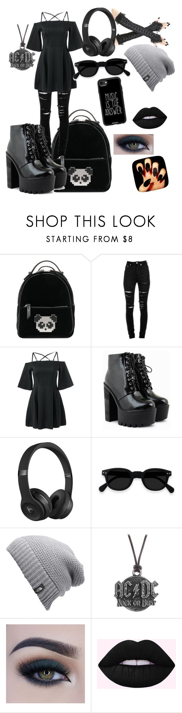 """Back Grayson  (young justice oc for fanfiction) main outfit"" by eloracount on Polyvore featuring Les Petits Joueurs, Yves Saint Laurent, Beats by Dr. Dre, The North Face, AC/DC, Too Faced Cosmetics and Casetify"
