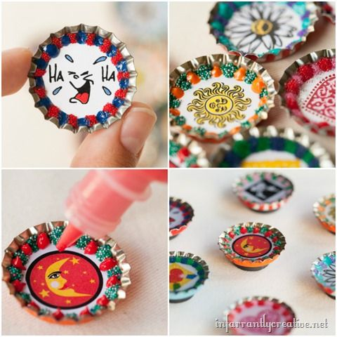DIY Crafts ~ These bottlecap magnets are one of my go-to best craft projects for a large group! You can even make them with photos, and the are great gifts!