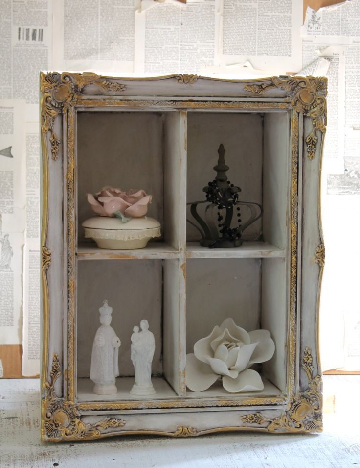 FRENCH COUNTRY Ornate Display Shelf Wall Shelf Shadow Box Wall Hanging Distressed Hand Painted Upcycled Home Decor by TheVintageStories on Etsy