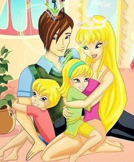 Stella and Brandon happy family winx club