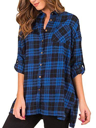 76bb85d1845e4 DUNEA Women Plaid Buffalo Check Button Down Shirt Roll-up Long Sleeve Plus  Size Blouse Tops for Women with Pockets