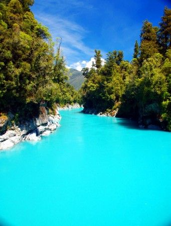 Turquoise glacier melt water near Ross, South Island, New Zealand. The vivid color comes from rock flour in the water.