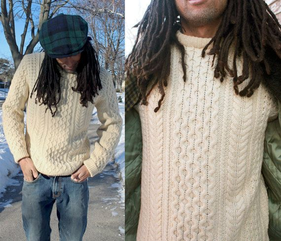 PENDLETON Vintage Woolen FISHERMEN SWEATER Cream Cable Knit Wharf ...