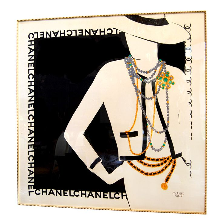 Vintage Framed Chanel Scarf | From a unique collection of antique and modern decorative art at http://www.1stdibs.com/furniture/wall-decorations/decorative-art/