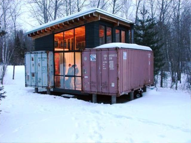 a small house made of containers