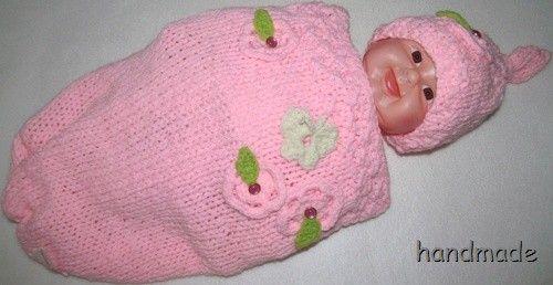 Ručně pletený kokonek s čepičkou, růžový