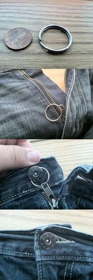 Ever had a pair of pants that the zipper wouldn't stay zipped?  Brilliant!