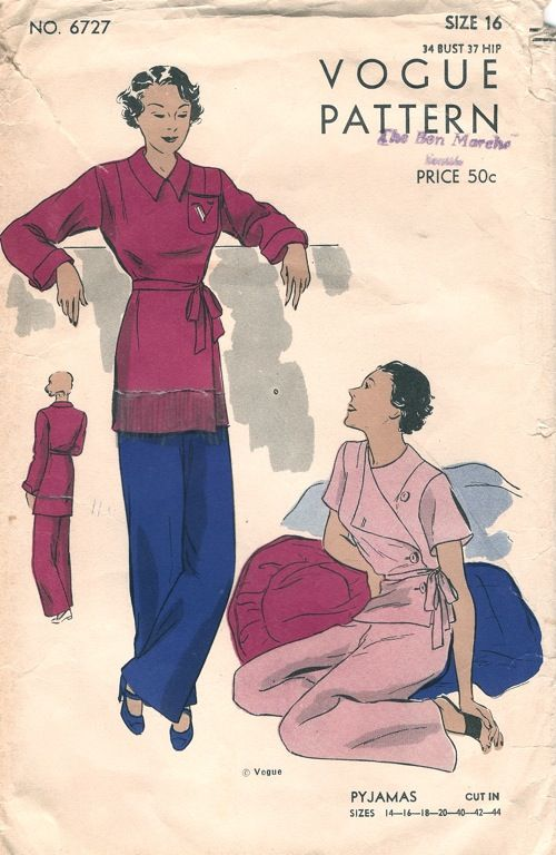 Vogue 6727; ca. mid 1930s; Pyjamas. Lounge or sleeping pyjamas, has a jacket which may be in either of two lengths. With or without collar. Short set-in sleeves or long sleeves with turned-back cuffs. Fronts may fasten at left side or fold back in a wide lapel. Pocket with embroidered initial is optional. Straight trousers are buttoned at both sides.