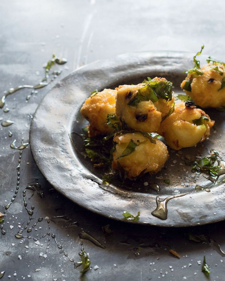 Wild garlic, leek & currant fritters with honey recipe from New Feast by Greg Malouf | Cooked