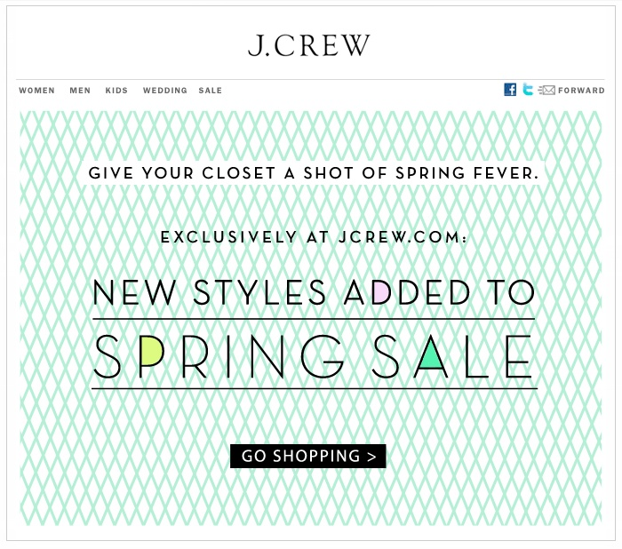 One of my favorite case studies: J. Crew sale-mail.