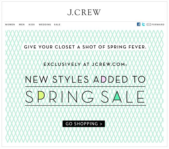 One of my favorite case studies: J. Crew sale-mail.