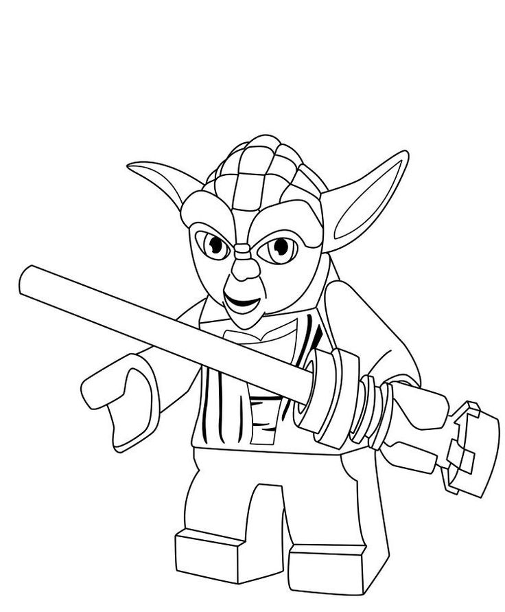 Lego Star Wars Yoda Coloring Pages in 2020 | Lego coloring ...