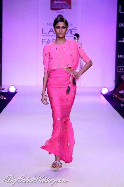 Fuchsia outfit by Neeta Lulla at LFW S/R 2014