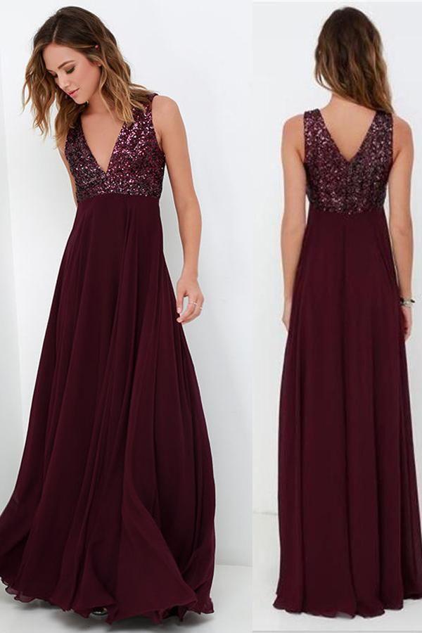 dc65fc93f55 Burgundy A Line Floor Length Deep V Neck Sleeveless Bridesmaid Dress -  Ombreprom