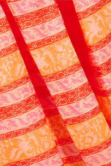 Tory Burch - Tiered Printed Cotton-poplin Maxi Skirt - Orange - US