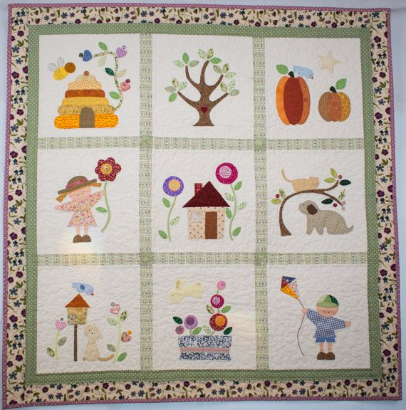 Baby quilt or wall hanging patchwork applique handmade