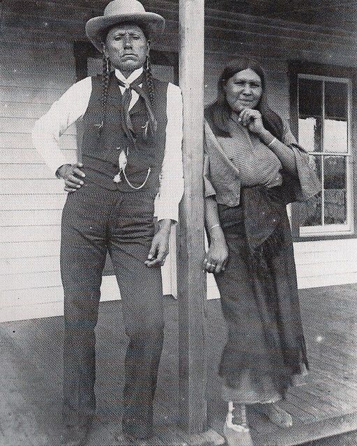 1892 - Quanah Parker and his wife Tonasa. He was Comanche/Scots-Irish from the Comanche band Noconis, Comanche chief, leader in the Native American Church, and the last leader of the powerful Quahadi band before they surrendered their battle of the Great Plains and went to a reservation in Indian Territory. He was the son of Comanche chief Peta Nocona and Cynthia Ann Parker, a European American, who had been kidnapped at the age of nine and assimilated into the tribe