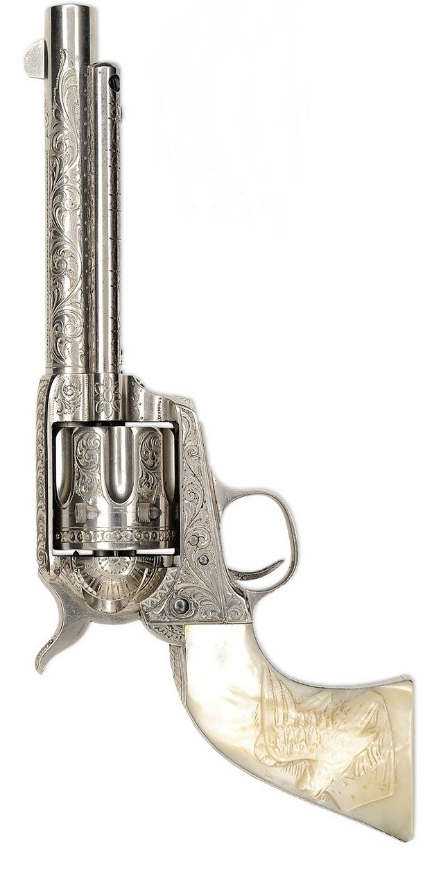 EXTREMELY RARE FACTORY ENGRAVED COLT FRONTIER SIX SHOOTER SINGLE ACTION ARMY REVOLVER, U.S.A, 19th century.