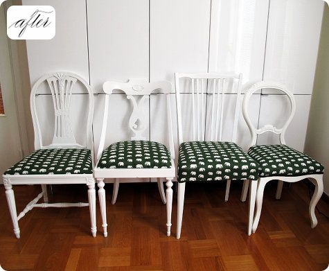 Mismatched thrifted chairs united by the same color paint and upholstery fabric #chairs #paint #upholstery